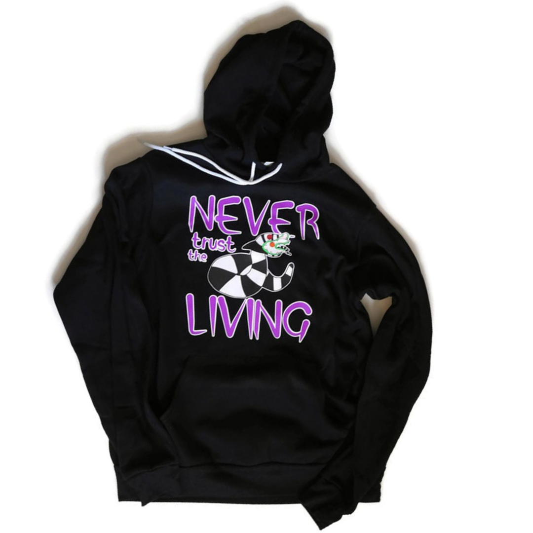 unisex black hoodie with sandworm beetlejuice drawing saying never trust the living