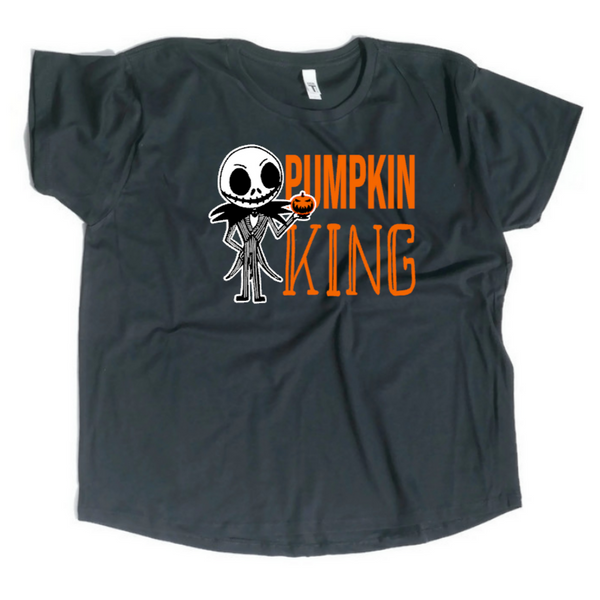 Women's black flowy short sleeve shirt with Pumpkin King and drawing of jack