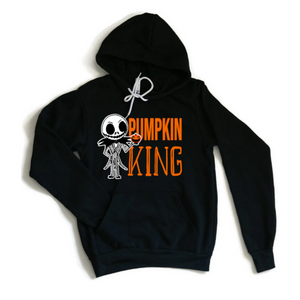 Unisex black hoodie with Pumpkin King and drawing of jack