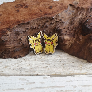 Nerdy Pikachu stud earrings hand painted maple