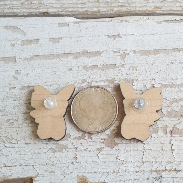 Nerdy Electric Mouse Maple Studded Earrings