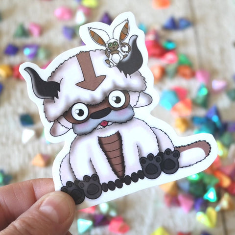 Fluffy Flying bison with lemar friend sticker