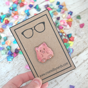 maple wooden pin of cute hamster pink pin
