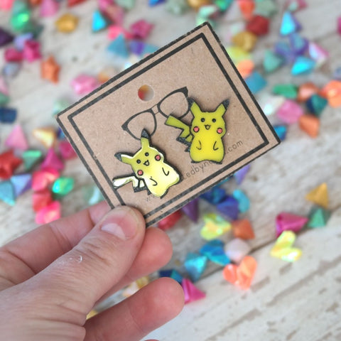 chibi pikachu electric mouse acryllic stud earrings