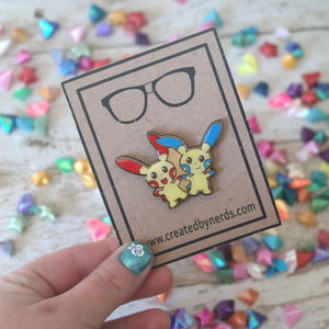 electric cheerleading pokemon pin mimun and plusle