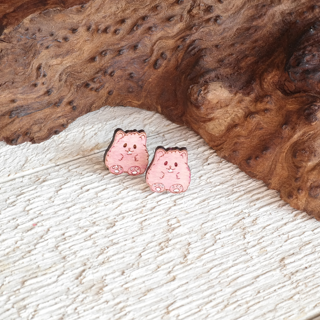 Fluffy Hamster Stud Earrings