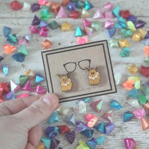 fluffy fox studded earrings