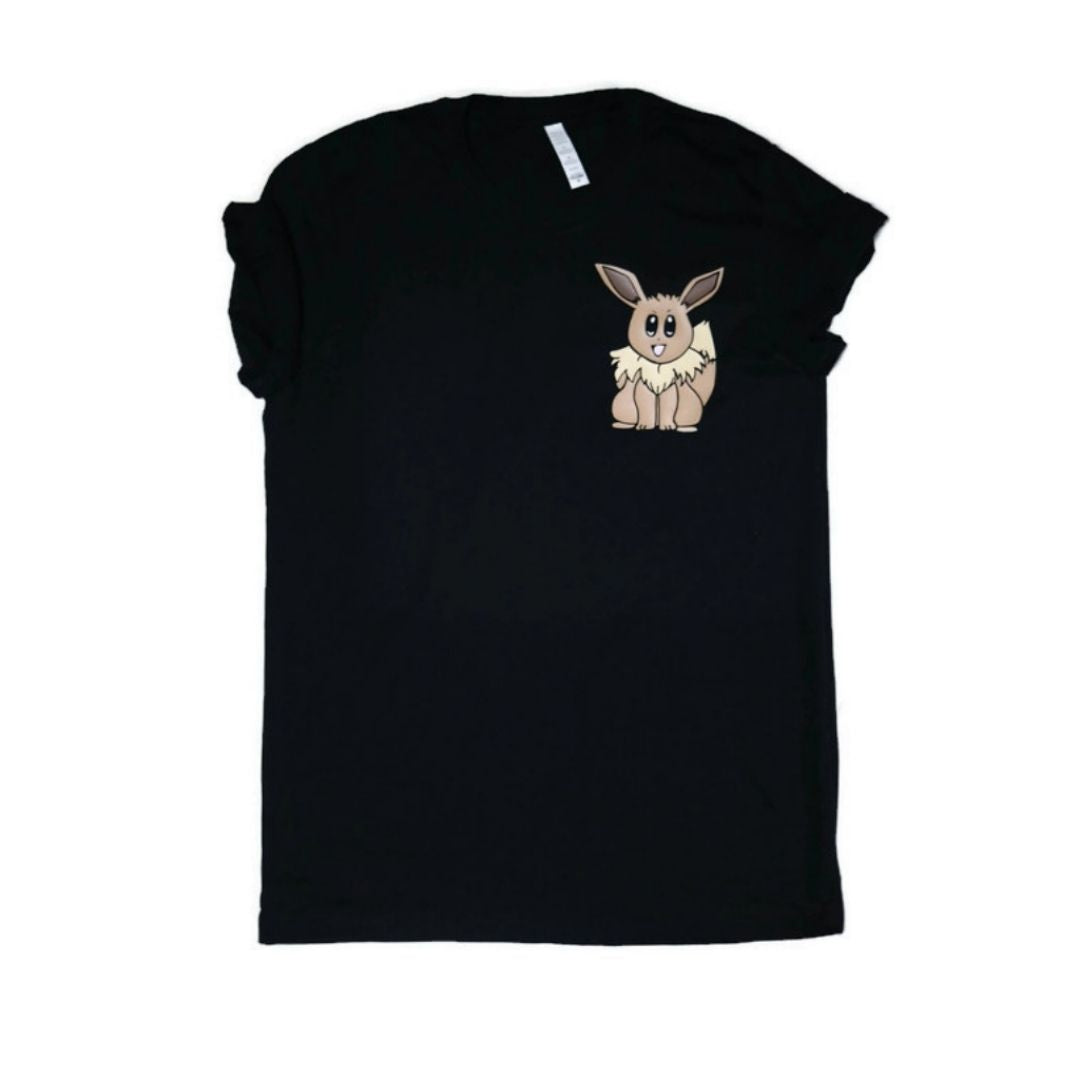 Unisex tee with Fan art drawing of Eevee Pokemon on left chest pocket