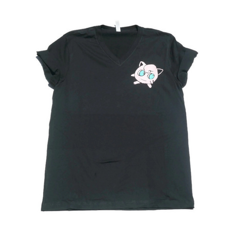 Black short sleeve shirt with pink image of Jigglypuff over left pocket spot
