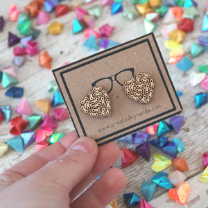 Chain Link Heart Maple Studded Earrings