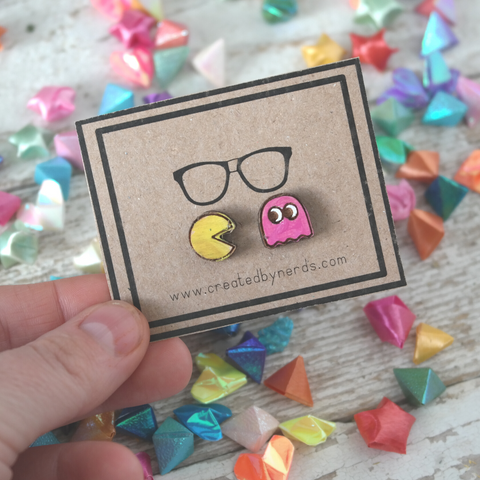 Pac Man and Ghost Maple Stud Earrings