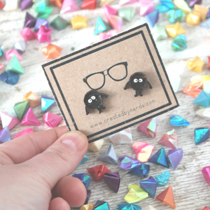 Wooden black soot earrings