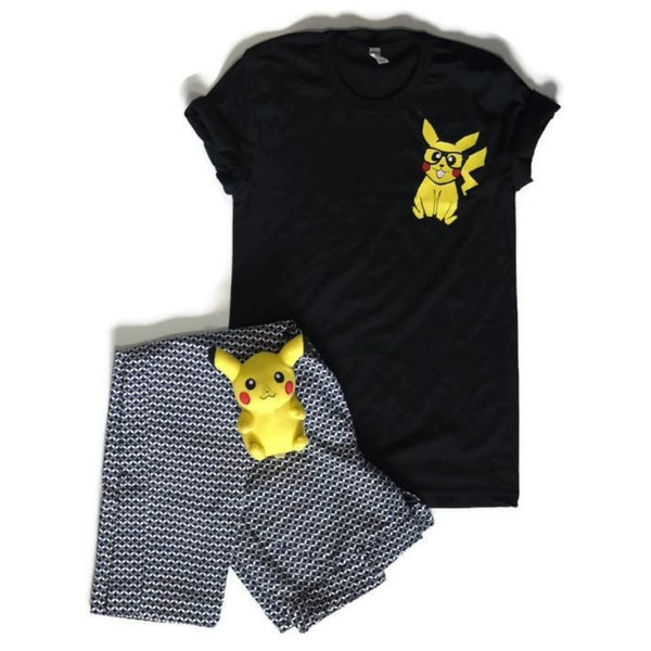 nerdy geeky pikachu with glasses shirt