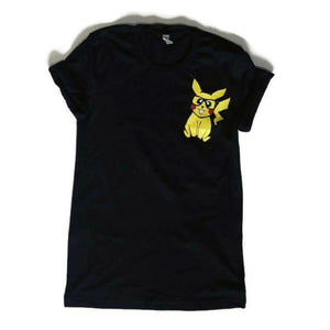 nerdy geek pikachu shirt with glasses on