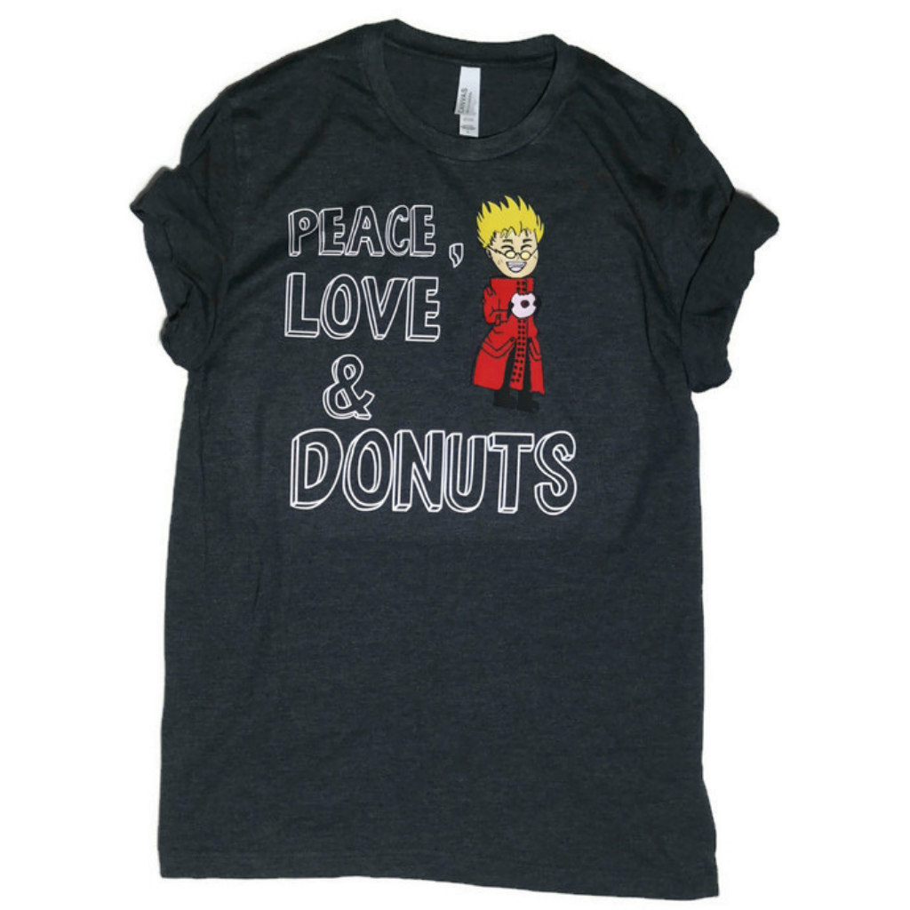 heather dark grey tee with cartoon drawing of vash the stamped and peace love and donuts