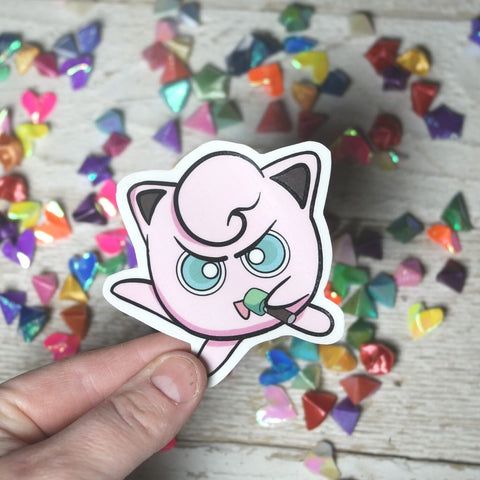 PInk Metal Marhmallow singing into microphone sticker