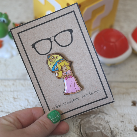 Maple wood pin of yellow hair princess and umbrella