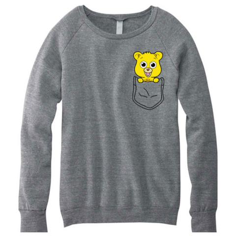 Sunshine Loving Bear Pocket Friend Unisex and Wide neck Sweater