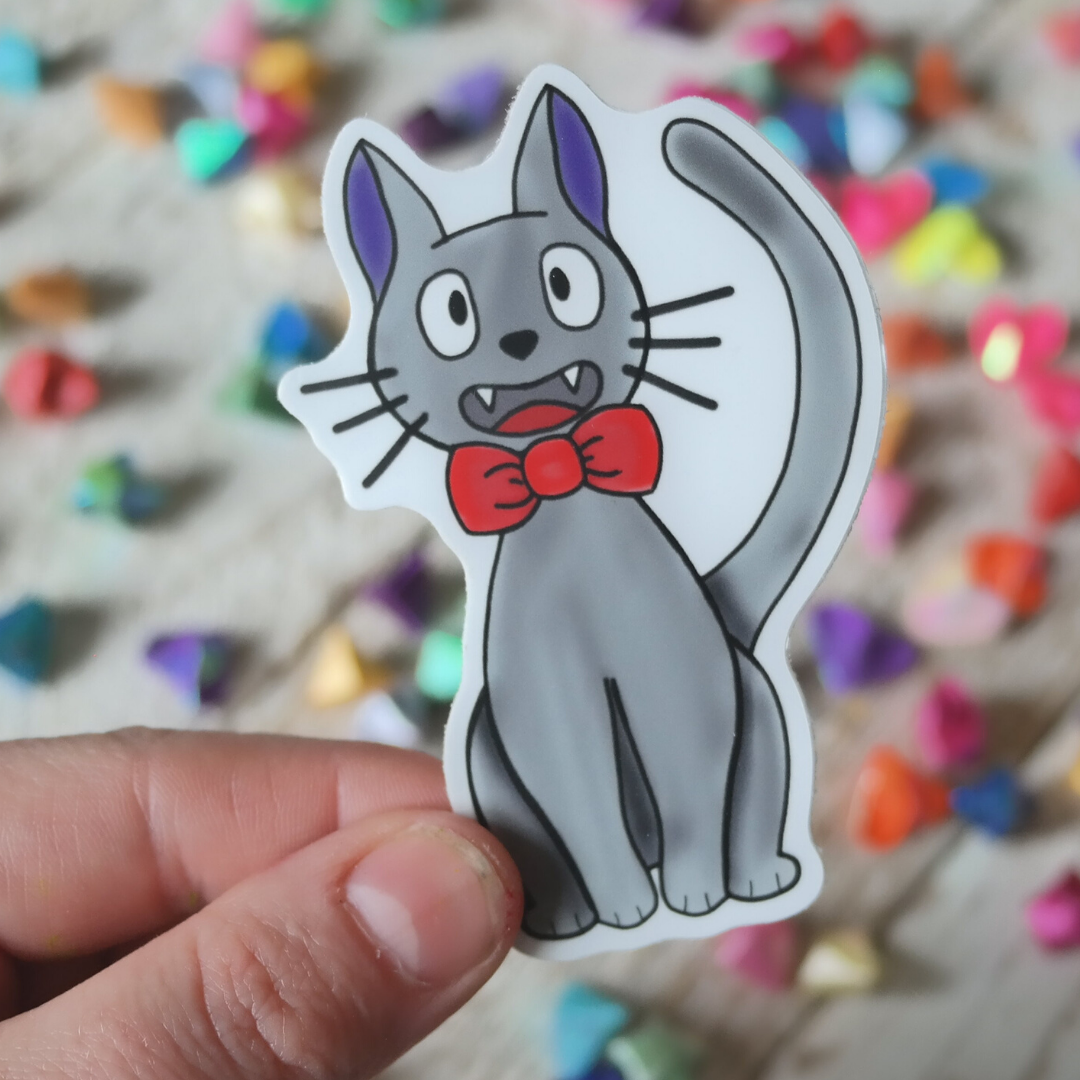 Vinyl Sticker of Friendly black bowtie wearing cat