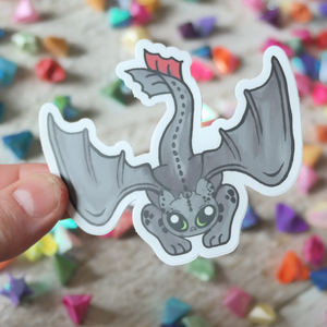 VInyl Sticker of Night dragon pouncing