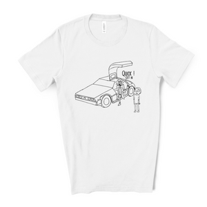 white shirt with hand drawn image of Rick stealing the delorean telling morty to get in the car