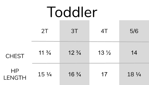 toddler shirt size chart