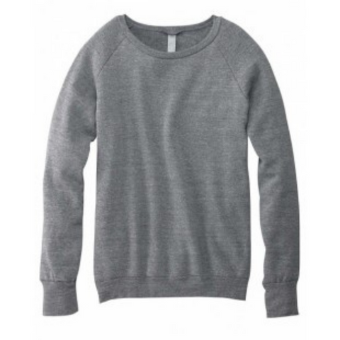 Women's  Heather Grey Wide Neck Sweater - Any CBN Design - No custom designs