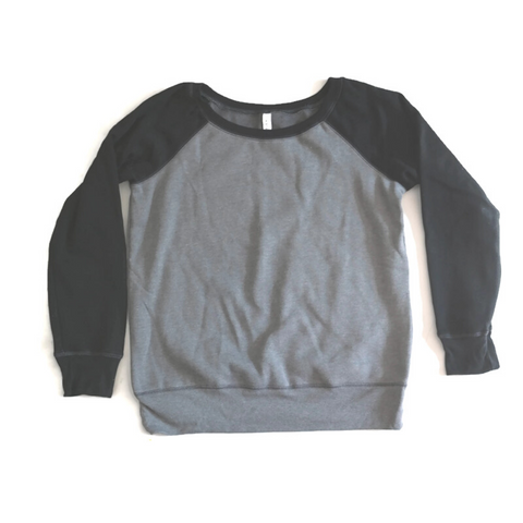 Women's  Heather Grey and black Wide Neck Sweater - Any CBN Design - No custom designs