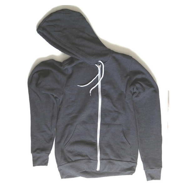 Unisex Dark Heather Grey Zip-up Hoodie - Any CBN Design - No custom designs