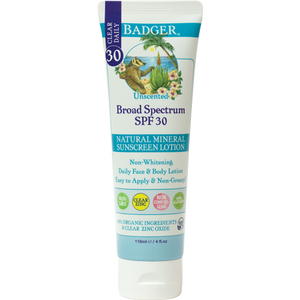 NEW - Badger SPF30 Sunscreen Lotion - Clear and Unscented