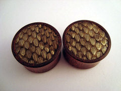Rattlesnake Skin Inlay Wood Plugs