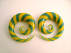 Glass Spirals Turquoise And Yellow Striped