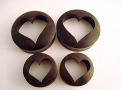 Areng Wood Cut Out Heart Plugs