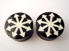 Wood Chaos Star Inlay Plugs