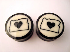 Wood Oregon Love Inlay Plugs
