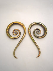 Gold Fumed Carved Tail Spirals