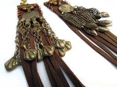 Brown Leather Fringe Lunar Coin Dangle