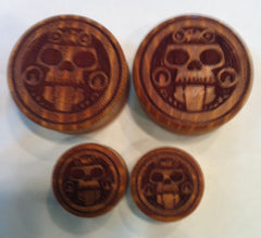 Aztec Monkey Skull Wood Plugs