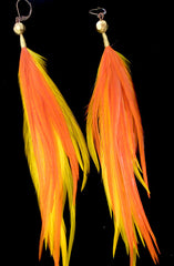 Orange & Yellow Feather Earrings