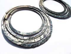 Antiqued Silver Hammered Stacking Hoops