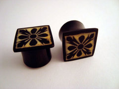 Buffalo Horn Square Flared Ornate Plugs