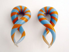 Glass Twists Orange And Blue Stripes