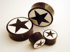 Black Star Bone Inlay Horn Plugs