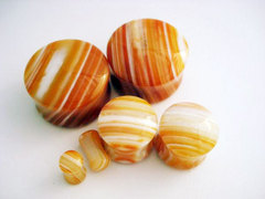 Orange Tibetan Agate Stone Plugs