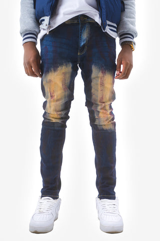 Vintage Paint Effect Jeans - Dark Blue