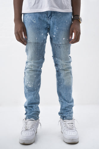 Paint Splatter Slim Stretch Moto Jean - Ice Blue