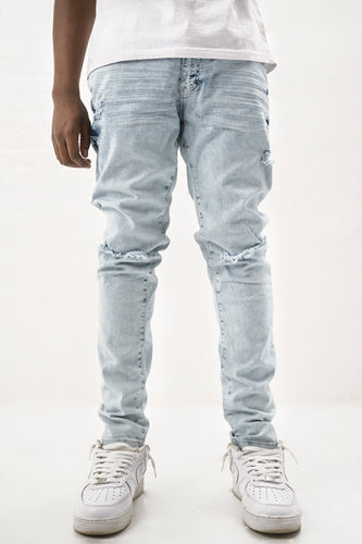 Denim Jeans with Blow Out Knees - Ice Blue