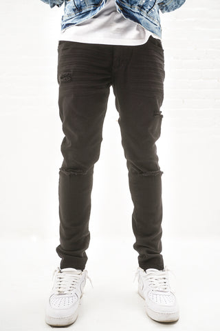 Twill Jeans with Blow Out Knees - Black