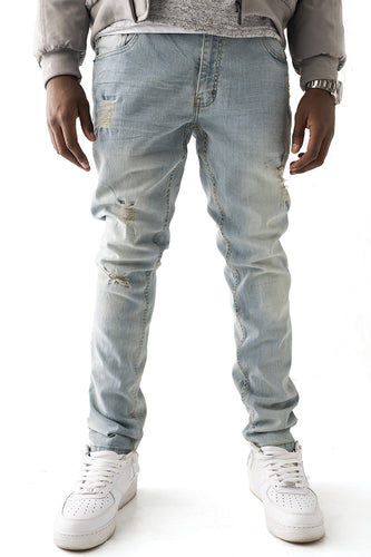Denim Jeans with Blow Out Knees - Lt Blue