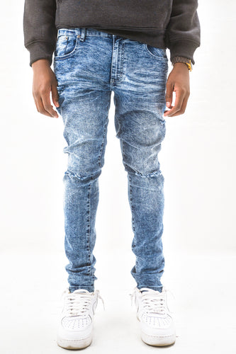 Denim Jeans with Blow Out Knees - Med Blue